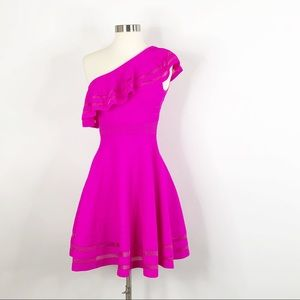 Ted Baker Neon Pink One Shoulder Knitted Dress